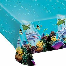 Creative Converting Ocean Party Plastic Table Cover, 54 by 1
