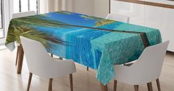 Ocean Tablecloth by Ambesonne, Image of a Tropical Island wi