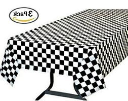 Pack of 3 Black White Checkered Tablecloth Flag Party Favor
