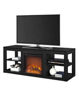 """Ameriwood Home Parsons 65"""" Electric Fireplace TV Stand in Bl"""