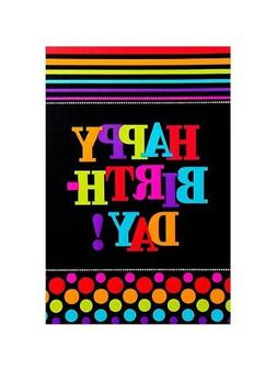 """Party On Happy Birthday Striped Table Cover , Multi , 54"""" x"""