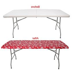 White Tablecloth - 6 Feet Rectangular Table Cover 100% polye