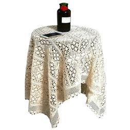 Pastoral Crochet Lace Tablecloth Cotton Hollow Square Round