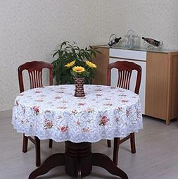 Pastoral PVC Round Table Cloth Waterproof Oilproof Floral Pr