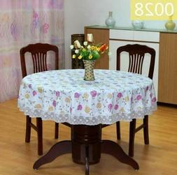 Pastoral Round Plastic Waterproof Oil proof Table Cover Flor
