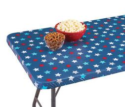 Patriotic Americana Star Pattern Elastic Fitted Table Cover