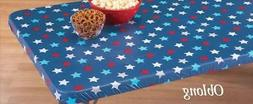 Patriotic Red White & Blue Star Fitted Elastic Table Cover 7