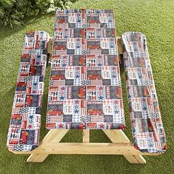 Picnic Table and Bench Seat Covers with Elastic Edges - Amer