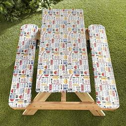 Picnic Table and Bench Seat Covers with Elastic Edges - BBQ