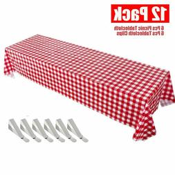 Picnic Tablecloth, Red Checkered Disposable Table Covers, 6