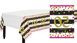 Pink and Gold 50th Birthday Table Cover ~ Adult Milestone Fi