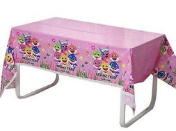 PINK BABY SHARK DooDooDoo Happy Birthday Party plastic TABLE
