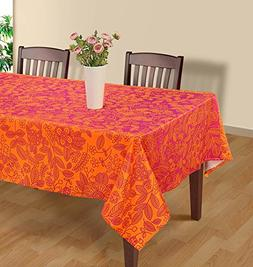 ShalinIndia Pink and Orange Modern Floral Rectangular Tablec