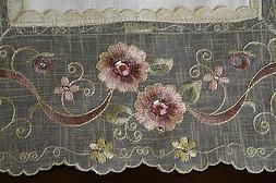 Pink Rhinestone Jeweled Embroidery Lace Placemats Runner Tab