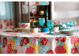 """PIONEER WOMAN 70"""" Round Patchwork Tablecloth kitchen dining"""