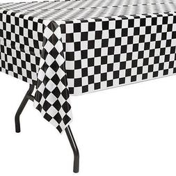 Plastic Disposable Tablecloth Black Checker Table Cover Wedd