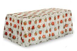 Plastic Holiday Party Table Cover, table skirt- Poinsettia D