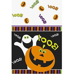Plastic Pumpkin Boo Halloween Table Cover
