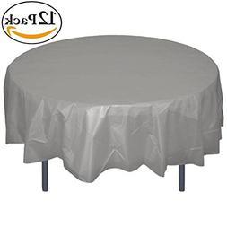Exquisite 12-Pack Premium Plastic 84-Inch Round Tablecloth -