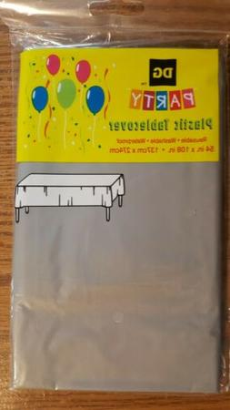"""PLASTIC TABLE COVER PROTECTOR LARGE 54"""" X 108"""" PARTY SILVER"""