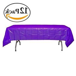 Exquisite 12-Pack Premium Plastic Tablecloth 54in. x 108in.