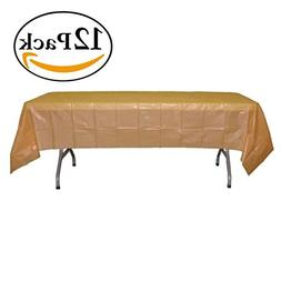 12-Pack Premium Plastic Tablecloth 54in. x 108in. Rectangle