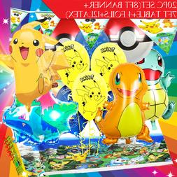 Pokemon Party Birthday Balloons table cover banner supply cu