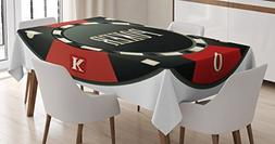 Ambesonne Poker Tournament Tablecloth by, Casino Chip with P