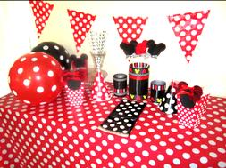 Polka Dots Minnie Mickey Mouse Plastic Table Cover Birthday
