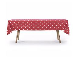 "5 PACK, 54"" x 108"" Red Polka Dot Rectangular Plastic Table C"