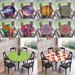Polyester Elastic Edged Table Cover Round Tablecloth for Pic