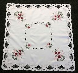 """Polyester Embroidered Burgundy Rose 36"""" Square Embroidery Ta"""