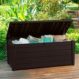 Pool Deck Storage Box and Bench is 2 in 1 Multifunctional Pa