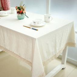 Pure White Beige Cotton Linen Decor Tablecloth Kitchen Dinne
