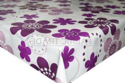 Purple Cartoon Petals PVC Tablecloth Vinyl Oilcloth Kitchen