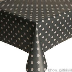 PVC OILCLOTH POLKA DOT SLATE WHITE SPOTS TABLE COVER WIPE AB
