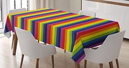 Ambesonne Rainbow Tablecloth by, Vibrant Rainbow Colored Str