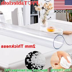2mm Thick Rectangle Waterproof Clear Transparent Tablecloth