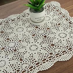 Gracebuy 16x23 Inch Rectangle Beige HANDMADE Cotton Crochet