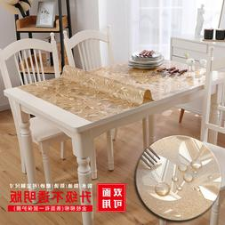 rectangle clear soft glass pvc dinning table