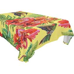 ALIREA Rectangle Flowers And Hummingbirds Tablecloth for Wed