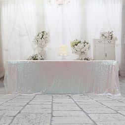 "3e Home 50x80"" Rectangle Sequin TableCloth for Wedding Party"