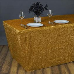 Efavormart 6 Ft Rectangle Table cover Metallic Gold Shiny Gl