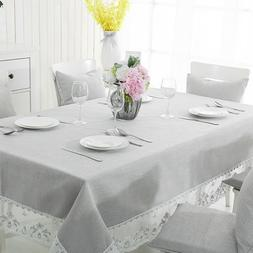 Rectangle Tablecloth Cotton/Linen with Lace Table Cover for