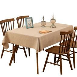 Rectangle Tablecloth Plain Color Dinner Table Linen Picnic O