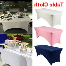 Rectangular Table Cover Spandex Elastic Tablecloth Wedding P