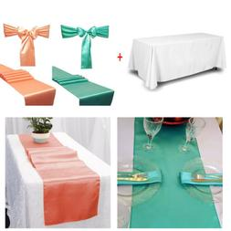 Rectangular Table Cover Wedding Banquet Polyester w/Table Ru
