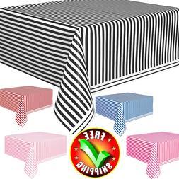 "Rectangular Tablecloth 108"" x 54"" Plastic Striped Patio Tabl"