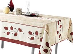 60 x 138-Inch Rectangular Tablecloth Beige with Red Leaf Hol