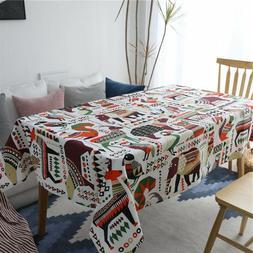 Rectangular Tablecloth For Christmas Party Cotton Linen Fabr